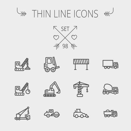 Construction thin line icon set for web and mobile. Set includes- forklift, road roller, cranes, dump truck, road barrier, delivery truck, mixer. Modern minimalistic flat design. Vector dark grey icon on light grey background