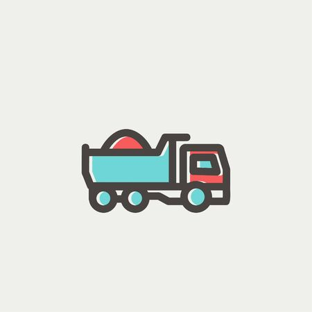 heavy load: Dump truck icon thin line for web and mobile, modern minimalistic flat design. Vector icon with dark grey outline and offset colour on light grey background.