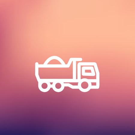 hauler: Dump truck icon thin line for web and mobile, modern minimalistic flat design. Vector white icon on gradient mesh background.