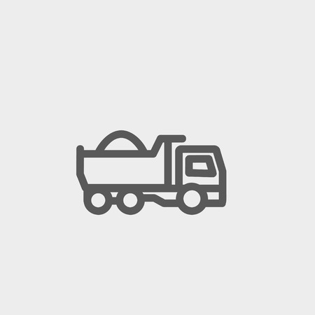 sand quarry: Dump truck icon thin line for web and mobile, modern minimalistic flat design. Vector dark grey icon on light grey background.