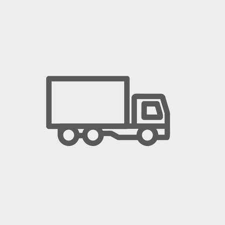 Delivery truck icon thin line for web and mobile, modern minimalistic flat design. Vector dark grey icon on light grey background. Illustration