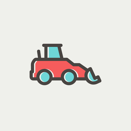 Car dumper icon thin line for web and mobile, modern minimalistic flat design. Vector icon with dark grey outline and offset colour on light grey background. Vector