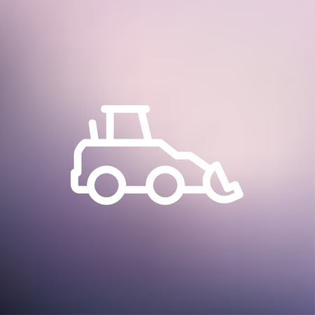 dredger: Car dumper icon thin line for web and mobile, modern minimalistic flat design. Vector white icon on gradient mesh background.