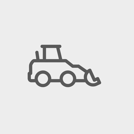 mini loader: Car dumper icon thin line for web and mobile, modern minimalistic flat design. Vector dark grey icon on light grey background.