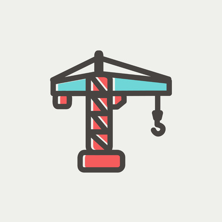 Crane machine icon thin line for web and mobile, modern minimalistic flat design. Vector icon with dark grey outline and offset colour on light grey background. Illustration