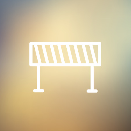 barrier: Road barrier icon thin line for web and mobile, modern minimalistic flat design. Vector white icon on gradient mesh background.