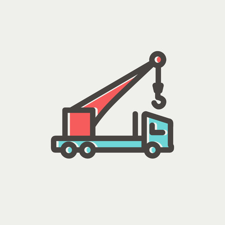 evacuate: Tow truck icon thin line for web and mobile, modern minimalistic flat design. Vector icon with dark grey outline and offset colour on light grey background.