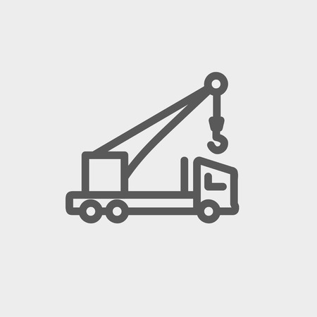 evacuate: Tow truck icon thin line for web and mobile, modern minimalistic flat design. Vector dark grey icon on light grey background.
