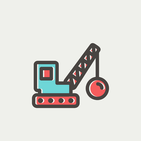 earthmover: Dedmolition trailer icon thin line for web and mobile, modern minimalistic flat design. Vector icon with dark grey outline and offset colour on light grey background.