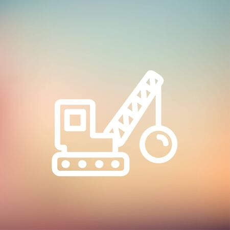 heavy construction: Demolition trailer icon thin line for web and mobile, modern minimalistic flat design. Vector white icon on gradient mesh background.