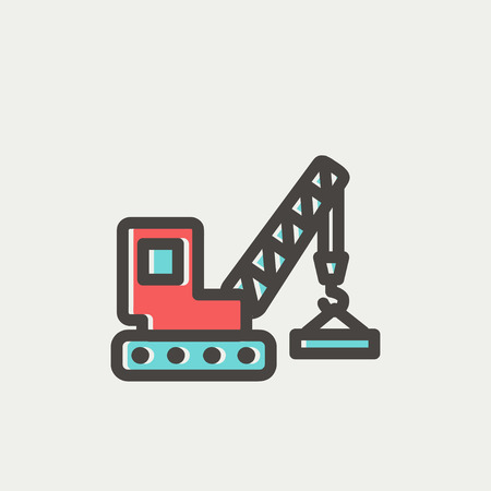 mine site: Lifting crane trailer icon thin line for web and mobile, modern minimalistic flat design. Vector icon with dark grey outline and offset colour on light grey background. Illustration