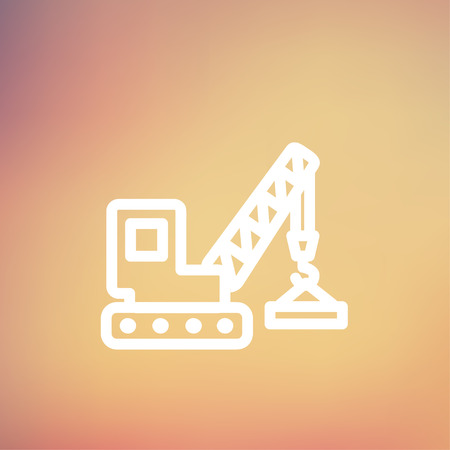 Lifting crane trailer icon thin line for web and mobile, modern minimalistic flat design. Vector white icon on gradient mesh background. Illustration