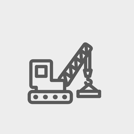 Lifting crane trailer icon thin line for web and mobile, modern minimalistic flat design. Vector dark grey icon on light grey background.