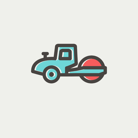 roadwork: Road roller icon thin line for web and mobile, modern minimalistic flat design. Vector icon with dark grey outline and offset colour on light grey background.