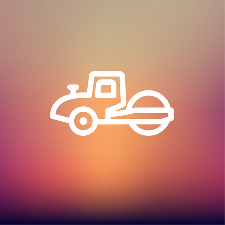 road paving: Road roller icon thin line for web and mobile, modern minimalistic flat design. Vector white icon on gradient mesh background.