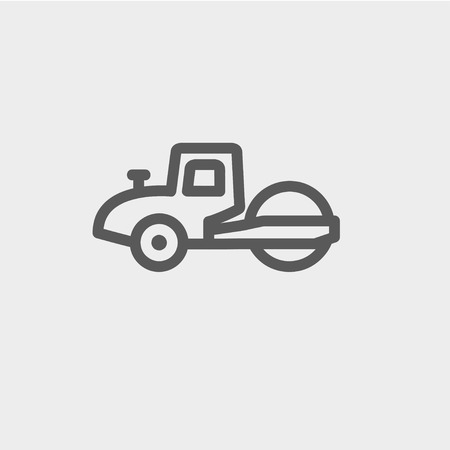 rollover: Road roller icon thin line for web and mobile, modern minimalistic flat design. Vector dark grey icon on light grey background.