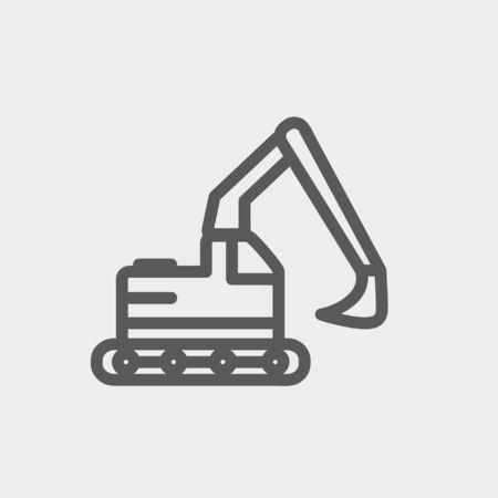 perspectiva lineal: Icono de cami�n excavadora hidr�ulica l�nea delgada para web y m�vil, dise�o plano minimalista moderno. Vector icono de color gris oscuro sobre fondo gris claro.