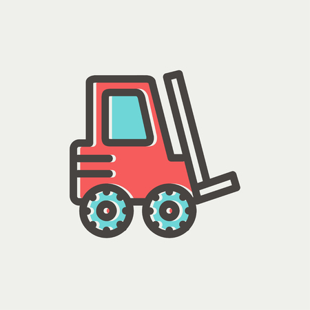 forklift truck: Forklift truck icon thin line for web and mobile, modern minimalistic flat design. Vector icon with dark grey outline and offset colour on light grey background. Illustration