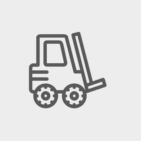 Forklift truck icon thin line for web and mobile, modern minimalistic flat design. Vector dark grey icon on light grey background. Ilustracja