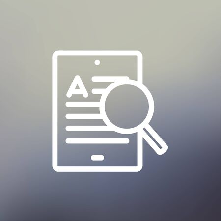 electronic book: Tablet and magnifying glass searching network icon thin line for web and mobile, modern minimalistic flat design. Vector white icon on gradient mesh background.