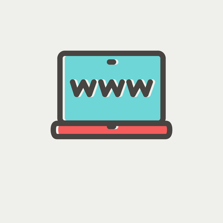 laptop screen: Website in laptop screen icon thin line for web and mobile, modern minimalistic flat design. Vector icon with dark grey outline and offset colour on light grey background. Illustration