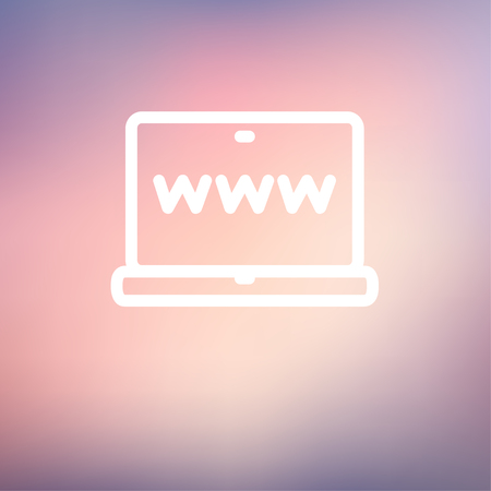 Website in laptop screen icon thin line for web and mobile, modern minimalistic flat design. Vector white icon on gradient mesh background. Illustration
