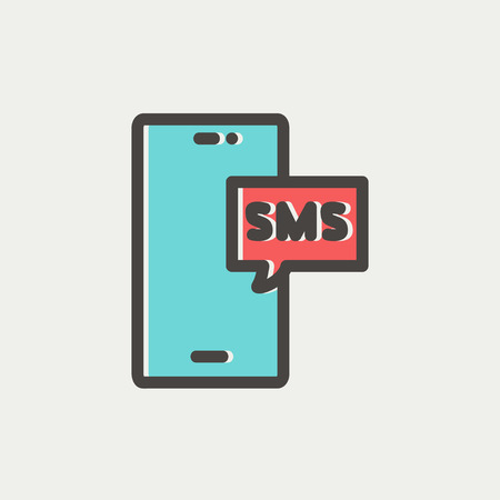 speakerphone: Mobile phone with SMS can receive and send messages icon thin line for web and mobile, modern minimalistic flat design. Vector icon with dark grey outline and offset colour on light grey background.