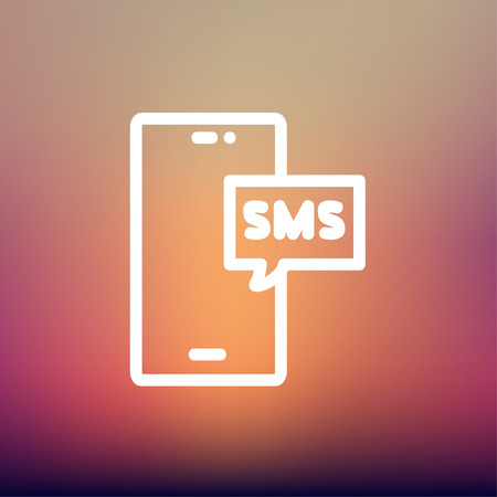 speakerphone: Mobile phone with SMS can receive and send messages icon thin line for web and mobile, modern minimalistic flat design. Vector white icon on gradient mesh background.