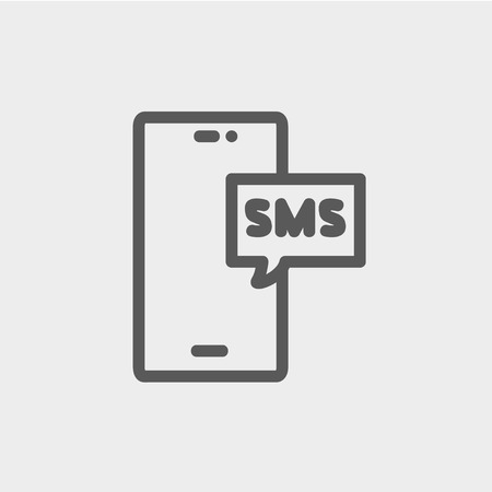 media gadget: Mobile phone with SMS can receive and send messages icon thin line for web and mobile, modern minimalistic flat design. Vector dark grey icon on light grey background.