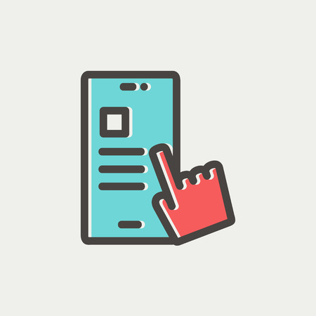 work task: Smartphone and hand checking of work task schedule icon thin line for web and mobile, modern minimalistic flat design. Vector icon with dark grey outline and offset colour on light grey background.