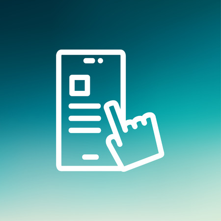 work task: Smartphone and hand checking of work task schedule icon thin line for web and mobile, modern minimalistic flat design. Vector white icon on gradient mesh background.