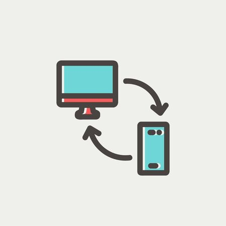 mobile device: Computer, mobile device and network connection icon thin line for web and mobile, modern minimalistic flat design. Vector icon with dark grey outline and offset colour on light grey background.