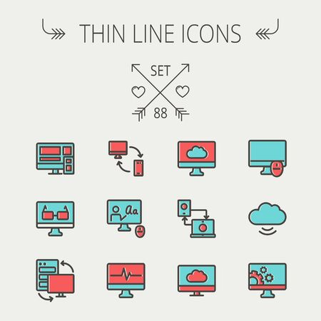 dark cloud: Technology thin line icon set for web and mobile. Set includes monitors, smartphone, cloud, mouse, wifi, gear, speaker. Modern minimalistic flat design. Vector icon with dark grey outline and offset colour on light grey background.