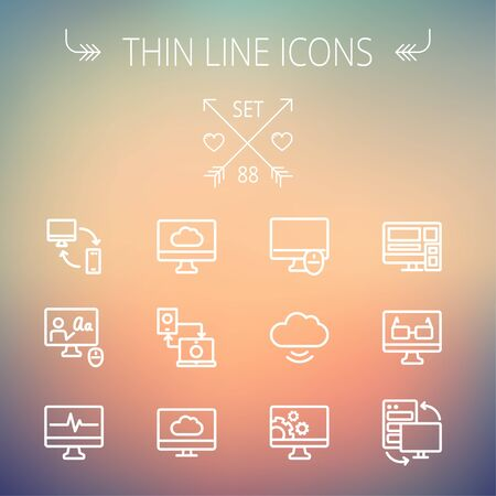 laptop computer: Technology thin line icon set for web and mobile. Set includes monitors, smartphone, cloud, mouse, wifi, gear, speaker. Modern minimalistic flat design. Vector white icon on gradient  mesh background. Illustration