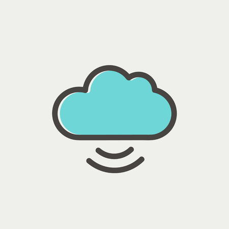 Cloud computing icon thin line for web and mobile, modern minimalistic flat design. Vector icon with dark grey outline and offset colour on light grey background. Vector