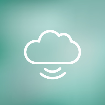Cloud computing icon thin line for web and mobile, modern minimalistic flat design. Vector white icon on gradient mesh background. Vector