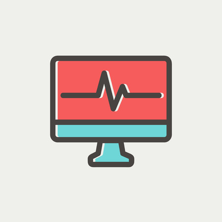 pulsation: Heart beat display in monitor icon thin line for web and mobile, modern minimalistic flat design. Vector icon with dark grey outline and offset colour on light grey background.