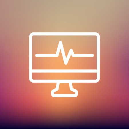 taking pulse: Heart beat display in monitor icon thin line for web and mobile, modern minimalistic flat design. Vector white icon on gradient mesh background.