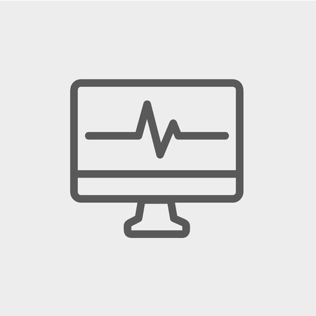 pulsation: Heart beat display in monitor icon thin line for web and mobile, modern minimalistic flat design. Vector dark grey icon on light grey background.