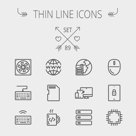 Technology thin line icon set for web and mobile. Set includes -simcard, computer cooler, keyboard, keyboard with wifi, optical drive, 3 devices, computer mouse, circuit board. Modern minimalistic flat design. Vector dark grey icon on light grey backgroun Illustration