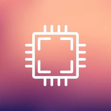 microelectronics: CPU icon thin line for web and mobile, modern minimalistic flat design. Vector white icon on gradient mesh background.