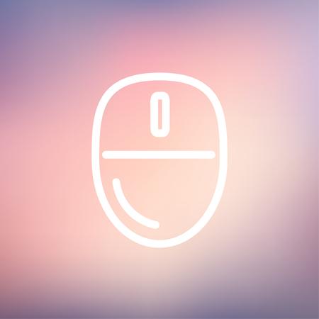 the mouse: Informática icono del ratón línea delgada para web y móvil, diseño plano minimalista moderno. Vector icono blanco sobre fondo de malla de degradado.