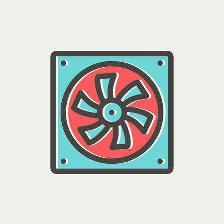 coolant: Computer cooler icon thin line for web and mobile, modern minimalistic flat design. Vector icon with dark grey outline and offset colour on light grey background.