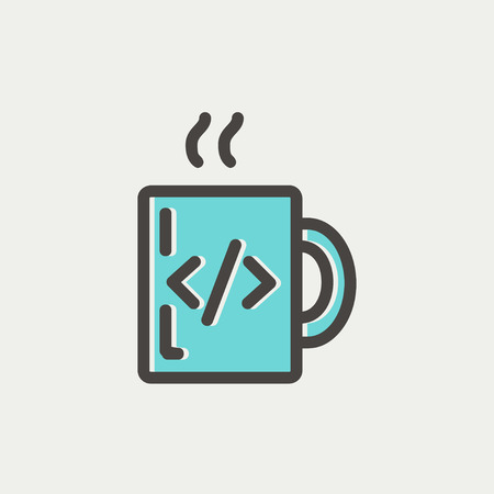 Mug with hot coffee icon thin line for web and mobile, modern minimalistic flat design. Vector icon with dark grey outline and offset colour on light grey background. Illustration