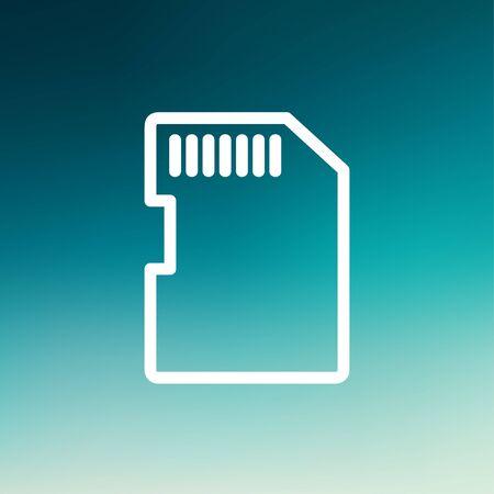 Web とモバイルでモダンなミニマルなフラットなデザインのため SIM カード アイコン細い線。グラデーション メッシュの背景に白いベクトル アイコ  イラスト・ベクター素材