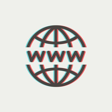 front end: Globe with website design icon thin line for web and mobile, modern minimalistic flat design. Vector icon with dark grey outline and offset colour on light grey background. Illustration