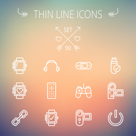 watch video: Technology thin line icon set for web and mobile. Set includes -video game, joystick, digital cam, power button, remote control, digital watch, USB. Modern minimalistic flat design. Vector white icon on gradient  mesh background.