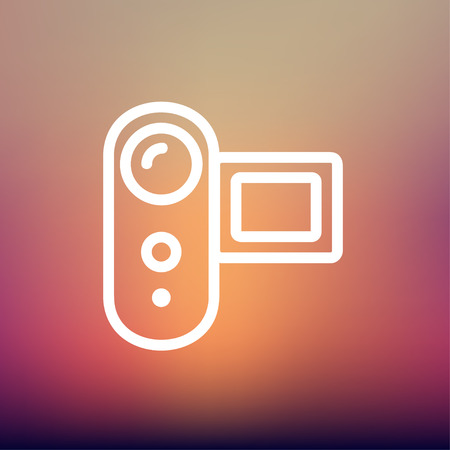 auto focus: Digital video camera icon thin line for web and mobile, modern minimalistic flat design. Vector white icon on gradient mesh background. Illustration