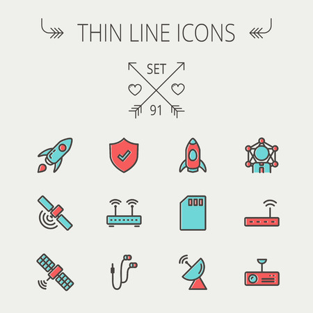 customer service phone: Technology thin line icon set for web and mobile. Set includes- start up, satellite, shield, router, wifi, earphone, memory card, radar. Modern minimalistic flat design. Vector icon with dark grey outline and offset colour on light grey background.