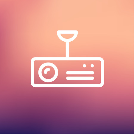 power projection: Vintage radio with analog dials and antenna icon thin line for web and mobile, modern minimalistic flat design. Vector white icon on gradient mesh background.